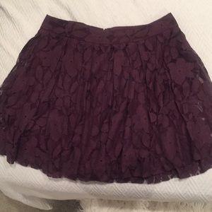 Loft burgundy lace skater skirt